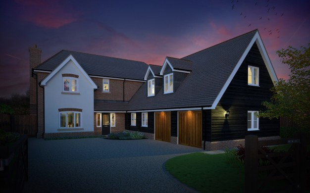 Traditional house dusk view